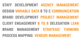 staff development agency management Design Variable data b to c communication brand development project management client engagement b to b delegation LEAN brand management strategic thinking process mapping  vendor management